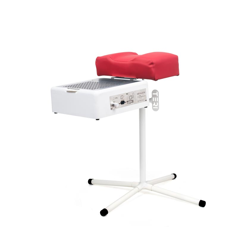 Red pedicure stand with dust collector