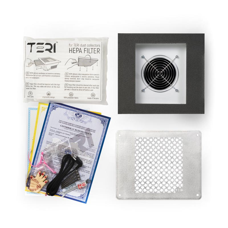 Items included in the kit to built-in nail dust collector