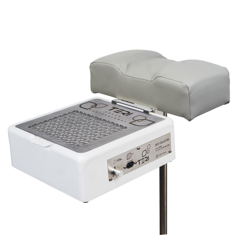 Foot rest stand for pedicure with grey cushion for nail dust collector