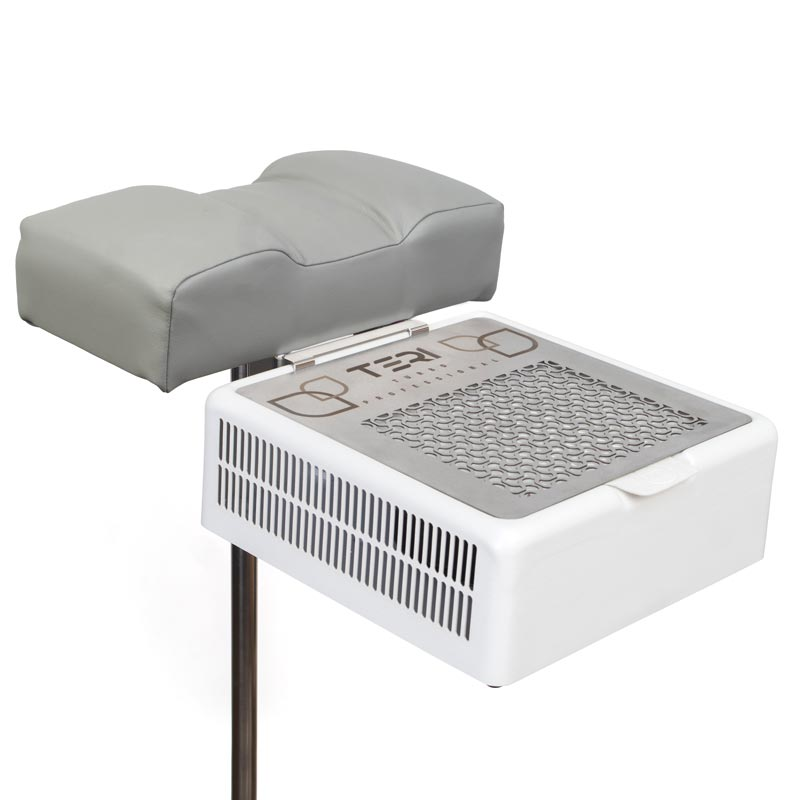 Footrest stand for pedicure with grey cushion for nail dust collector
