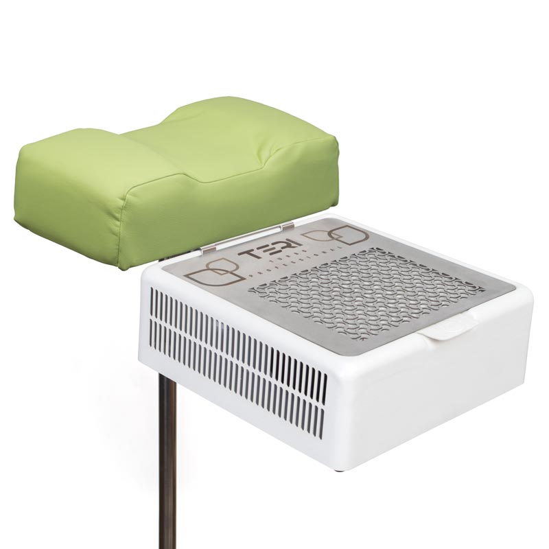 Pedicure foot rest stand with pistachio cushion with nail dust collector Teri