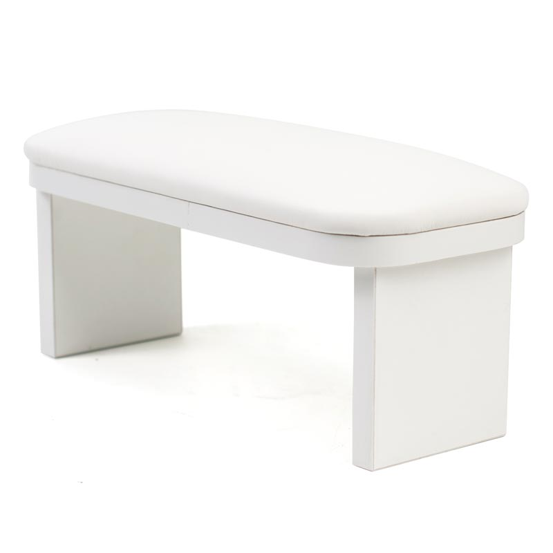 White hand rest stand on wooden legs for manicure