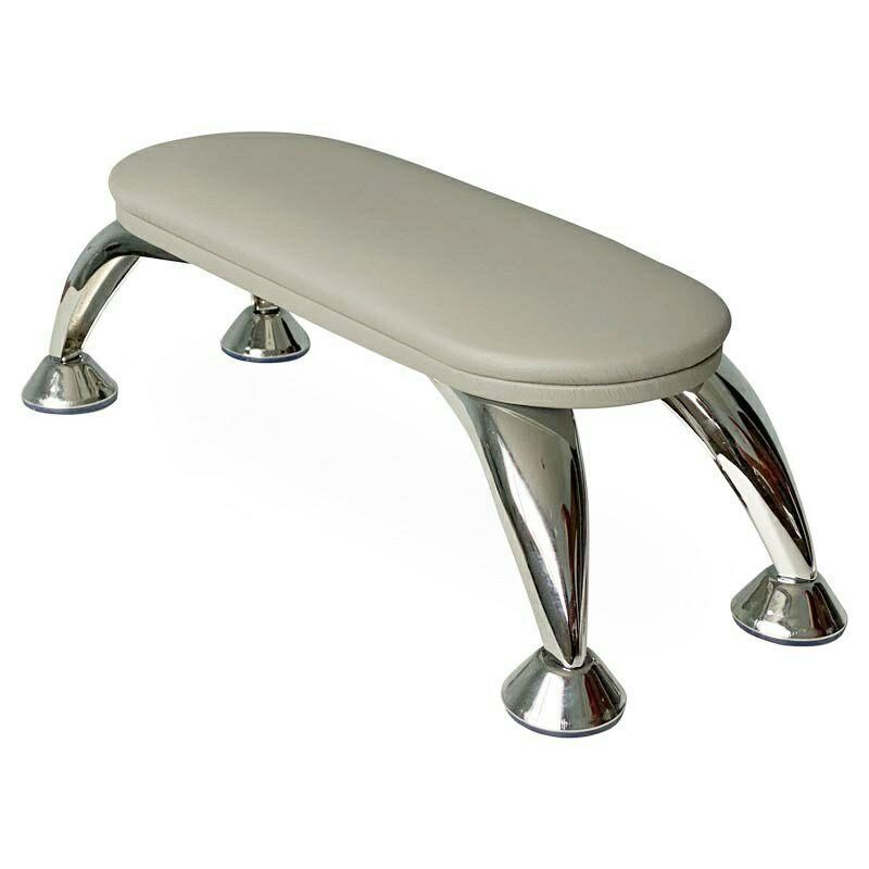 Manicure handrest stand with metal legs and grey pillow